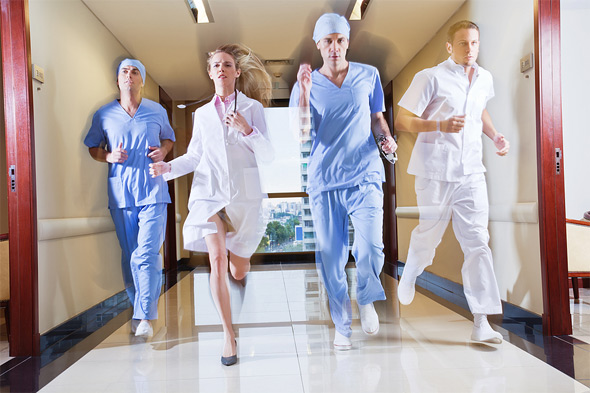 rushed doctors running