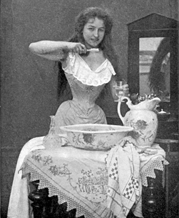 woman brushing her teeth in the 1800s